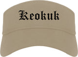 Keokuk Iowa IA Old English Mens Visor Cap Hat Khaki