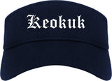 Keokuk Iowa IA Old English Mens Visor Cap Hat Navy Blue