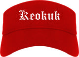 Keokuk Iowa IA Old English Mens Visor Cap Hat Red