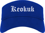 Keokuk Iowa IA Old English Mens Visor Cap Hat Royal Blue