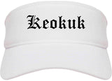 Keokuk Iowa IA Old English Mens Visor Cap Hat White
