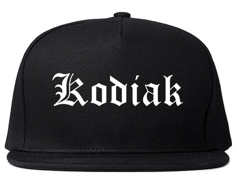 Kodiak Alaska AK Old English Mens Snapback Hat Black
