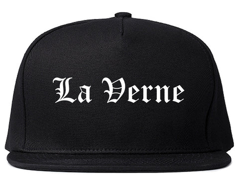 La Verne California CA Old English Mens Snapback Hat Black