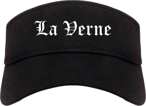 La Verne California CA Old English Mens Visor Cap Hat Black