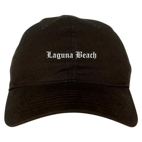 Laguna Beach California CA Old English Mens Dad Hat Baseball Cap Black