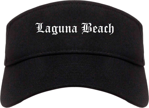Laguna Beach California CA Old English Mens Visor Cap Hat Black