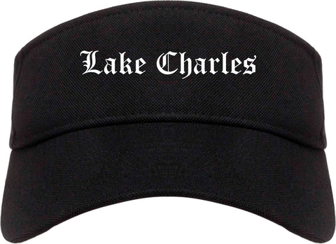 Lake Charles Louisiana LA Old English Mens Visor Cap Hat Black