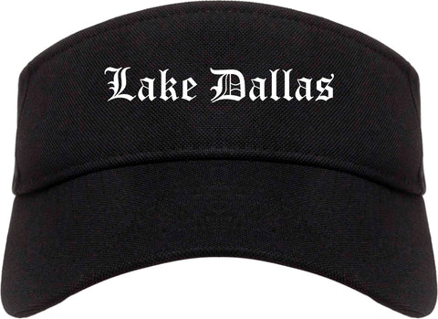 Lake Dallas Texas TX Old English Mens Visor Cap Hat Black