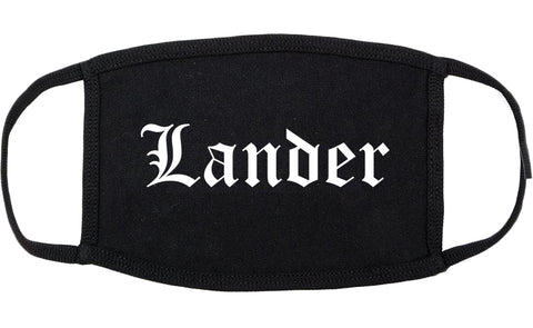 Lander Wyoming WY Old English Cotton Face Mask Black