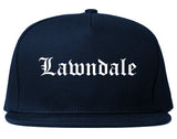 Lawndale California CA Old English Mens Snapback Hat Navy Blue