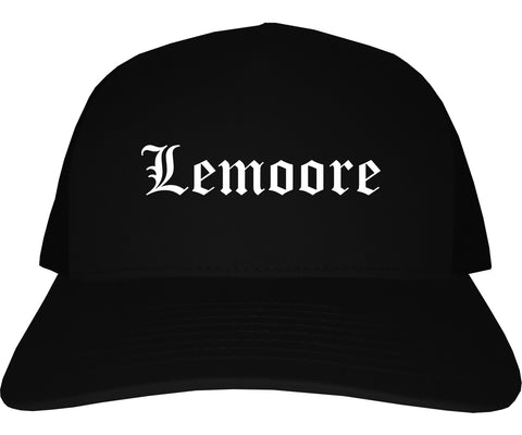 Lemoore California CA Old English Mens Trucker Hat Cap Black
