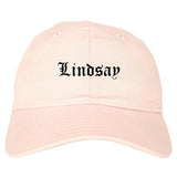 Lindsay California CA Old English Mens Dad Hat Baseball Cap Pink