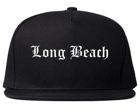Long Beach California CA Old English Mens Snapback Hat Black