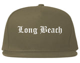 Long Beach California CA Old English Mens Snapback Hat Grey