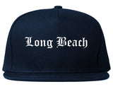 Long Beach California CA Old English Mens Snapback Hat Navy Blue