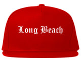 Long Beach California CA Old English Mens Snapback Hat Red