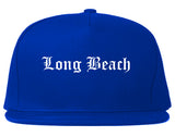 Long Beach California CA Old English Mens Snapback Hat Royal Blue