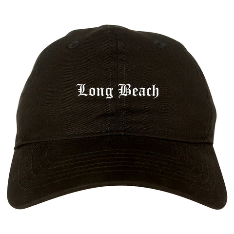 Long Beach California CA Old English Mens Dad Hat Baseball Cap Black