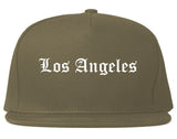 Los Angeles California CA Old English Mens Snapback Hat Grey