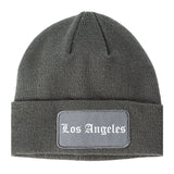 Los Angeles California CA Old English Mens Knit Beanie Hat Cap Grey
