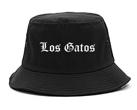 Los Gatos California CA Old English Mens Bucket Hat Black