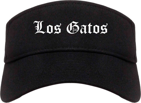Los Gatos California CA Old English Mens Visor Cap Hat Black