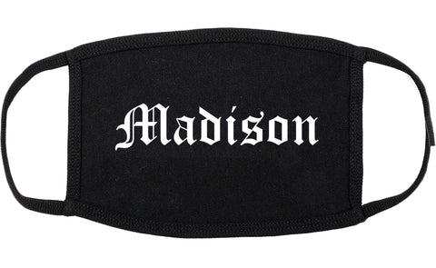 Madison Alabama AL Old English Cotton Face Mask Black