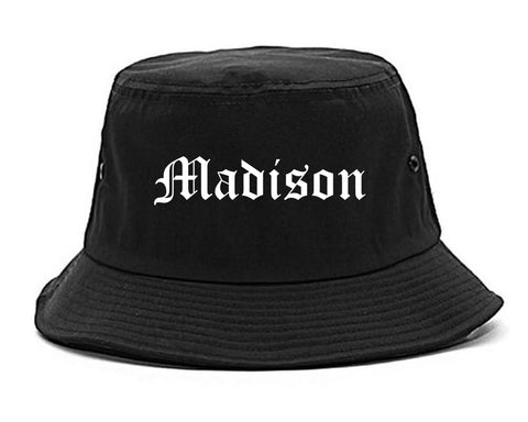 Madison Alabama AL Old English Mens Bucket Hat Black