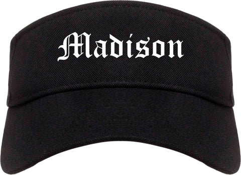 Madison Alabama AL Old English Mens Visor Cap Hat Black
