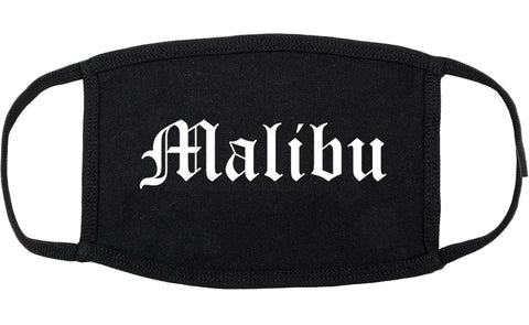 Malibu California CA Old English Cotton Face Mask Black