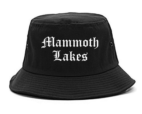 Mammoth Lakes California CA Old English Mens Bucket Hat Black