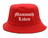 Mammoth Lakes California CA Old English Mens Bucket Hat Red