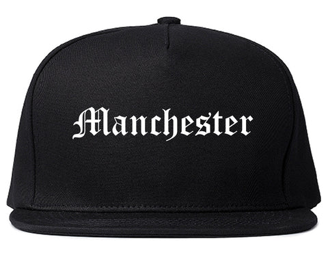 Manchester Iowa IA Old English Mens Snapback Hat Black