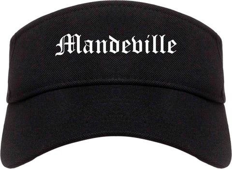 Mandeville Louisiana LA Old English Mens Visor Cap Hat Black