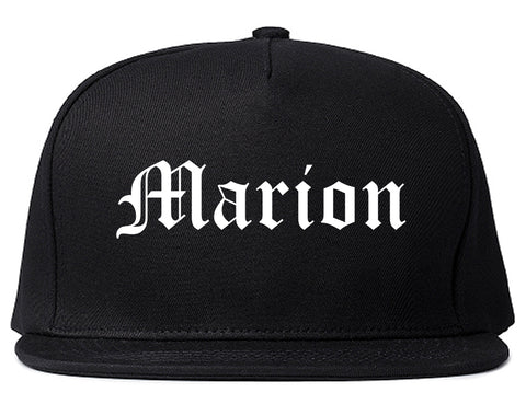 Marion Iowa IA Old English Mens Snapback Hat Black