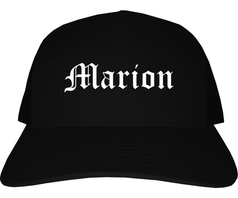 Marion Iowa IA Old English Mens Trucker Hat Cap Black
