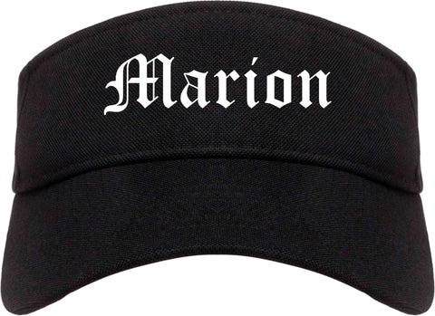 Marion Iowa IA Old English Mens Visor Cap Hat Black