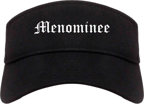 Menominee Michigan MI Old English Mens Visor Cap Hat Black