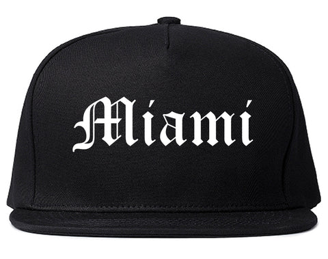 Miami Florida FL Old English Mens Snapback Hat Black