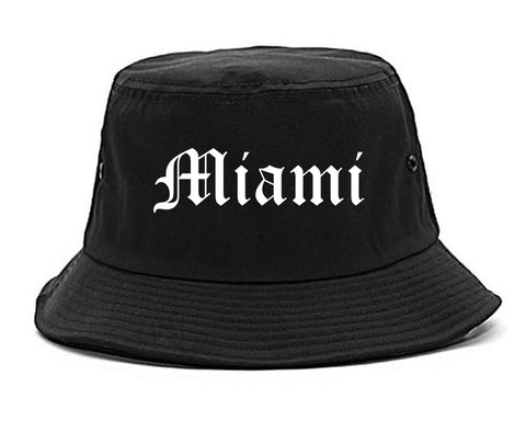 Miami Florida FL Old English Mens Bucket Hat Black