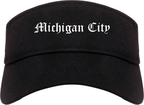 Michigan City Indiana IN Old English Mens Visor Cap Hat Black