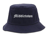 Middletown Connecticut CT Old English Mens Bucket Hat Navy Blue