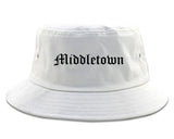 Middletown Connecticut CT Old English Mens Bucket Hat White