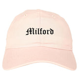 Milford Connecticut CT Old English Mens Dad Hat Baseball Cap Pink