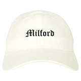 Milford Connecticut CT Old English Mens Dad Hat Baseball Cap White