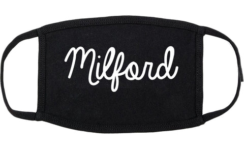 Milford Connecticut CT Script Cotton Face Mask Black