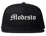 Modesto California CA Old English Mens Snapback Hat Black