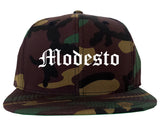 Modesto California CA Old English Mens Snapback Hat Army Camo