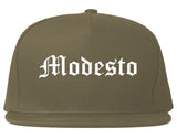 Modesto California CA Old English Mens Snapback Hat Grey