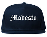Modesto California CA Old English Mens Snapback Hat Navy Blue
